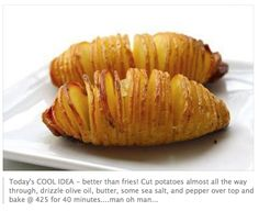 Easy and quick potato side dish!! Making this tonight!!! Made it and OMG My Hubby said it was a weird looking baked potato. But he put on more butter and topped it off with sour cream and he was a happy camper!!! I will make this next time I have dinner guests!!!