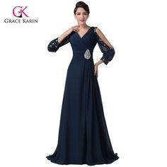 Long Formal Evening Dresses Grace Karin Navy Blue sleeves 2017 elegant  Women gowns Mother of the Bride dresses Party Dress 6220