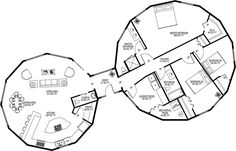 Deltec Homes - 3BR 2.5 BA - Interesting floorplan, one 'circle' of the house for the bedrooms and the other for kitchen/dining/living area