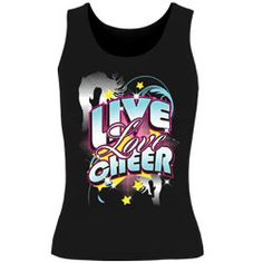 Printed Live Love Cheer Black Fitted Tank Top $10.97
