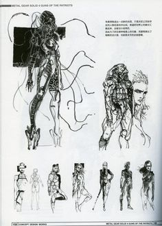 early concept art for Metal Gear Solid 4 by Yoji Shinkawa Character Model Sheet, Character Concept, Character Art, Concept Art, Raiden Metal Gear, Metal Gear Solid Series, Metal Gear Rising, Gear Art, Japanese Artists