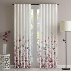 Regency Heights Regency Heights Isla Floral Sheer 108-Inch Rod Pocket Window Curtain Panel in Berry
