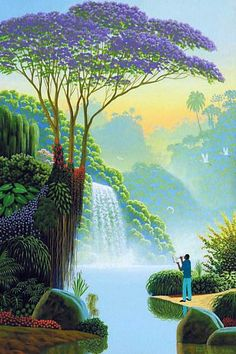 Naive Art: painting with paints, heart and Fantasy Landscape, Landscape Art, Landscape Paintings, Waterfall Paintings, Image Nature, Beautiful Nature Wallpaper, Tropical Art, Naive Art, Nature Paintings