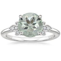 18K WHITE GOLD FIORELLA DIAMOND RING WITH 8MM GREEN ROUND PRASIOLITE $1,440