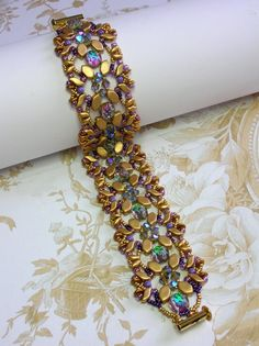 Your place to buy and sell all things handmade Unique Bracelets, Seed Bead Bracelets, Seed Beads, Beaded Bracelet Patterns, Beaded Jewelry, Aztec Gold, Super Duo Beads, Homemade Jewelry, Paros