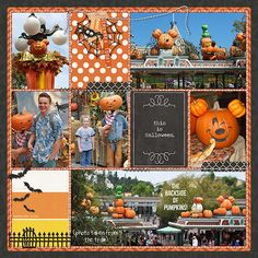 Disney Halloween Decor (right) scrapbook pocket project life page using the Project Mouse Halloween bundle by Sahlin Studio (how cute is it that the bats have Mickey ears?!)