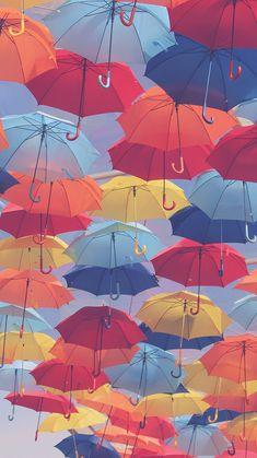 Farbenfrohe Regenschirme, die Du bei jedem Wetter gerne anschaust: | 25 bezaubernde Hintergrundbilder für Dein Handy, die Dich zum Lächeln bringen
