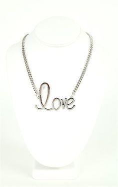 Deb Shops Short #Necklace with Cursive #Love $7.87