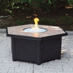 Hex LP Gas Fire Pit Bowl with Decorative Ceramic Tile Mantel - Walmart.com