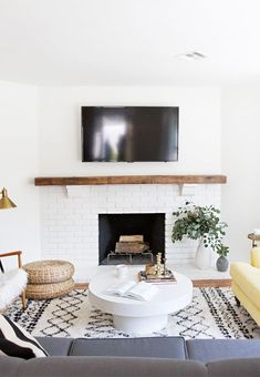 Image result for white brick fireplace