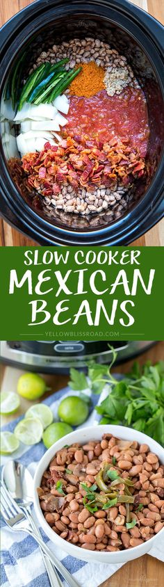 Slow Cooker Mexican Beans - the perfect side dish for all of your favorite Mexican recipes Crock Pot Slow Cooker, Slow Cooker Recipes, Crockpot Recipes, Cooking Recipes, Healthy Recipes, Tacos Crockpot, Vegetarian Recipes, Hotdish Recipes, Pork Recipes