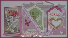 Marianne Design - 3 luik kaart EWK1239 Country Style hearts PK9130 Paperbloc Country Style EC0158/EC0159/EC0160 Handlettering CR1313 Bloemen & vlinders CR1352 Labels CR1354 Butterflies Kant en lint