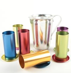 f18ea12e1 Vintage Perma Hues Colored Aluminum Tumblers and Pitcher