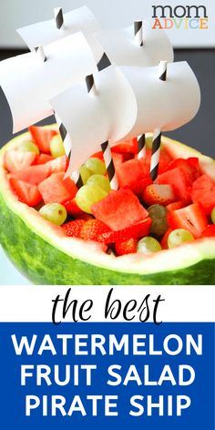 Watermelon Fruit Salad Pirate Ship from MomAdvice.com Pirate Ship Watermelon, Watermelon Boat, Watermelon Fruit Salad, Good Food, Yummy Food, Delicious Recipes, Melon Ballers, Great Salad Recipes, Party Food And Drinks