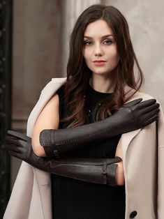 Best Gloves, Long Gloves, Gloves Fashion, Fashion Tights, Riding Boot Outfits, Elegant Gloves, Black Leather Gloves, Leather Dresses, Latex