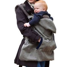 Hooded Windproof Waterproof Winter Cloak Pocket Front Baby Carrier Cover Grey