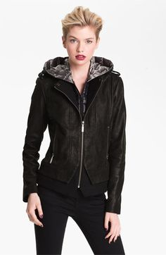 Bernardo Leather Jacket with Faux Vest Inset available at #Nordstrom