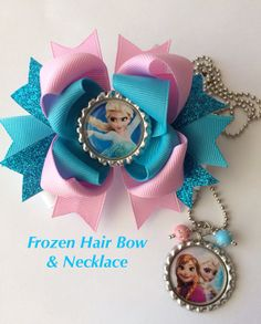 Frozen Hair Bow and Frozen Necklace Set