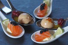 Combinado de esferas con salmón marinado