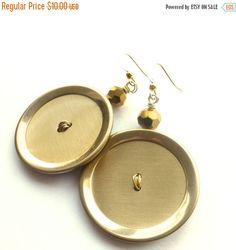 Holiday Jewelry Sale BIG Bold Brass Gold Button Earrings by buttonsoupjewelry on Etsy