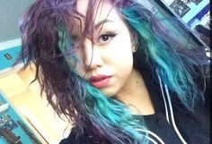 haven't been posting but old purple / teal/ green hair !