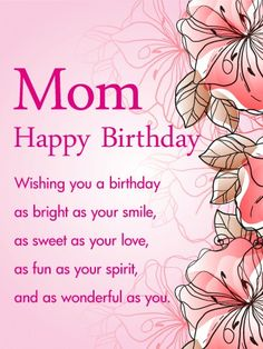 Birthday wishes for a mother birthday greeting cards mother send free pink gorgeous flower happy birthday wishes card for mom to loved ones on birthday greeting cards by davia its free and you also can use your m4hsunfo