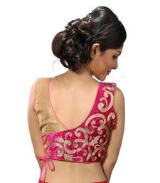 Buy Golden and pink velvette blouse readymade-blouse online New Saree Blouse Designs, Blouse Designs Catalogue, Simple Blouse Designs, Stylish Blouse Design, Bridal Blouse Designs, Golden Blouse Designs, Blouse Styles, Designer Blouses Online, Designer Blouse Patterns