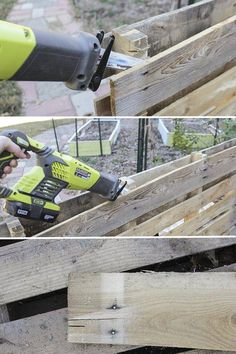 Pallet Designs Cutting through nails on pallet planks - How to build a pallet accent wall in an afternoon. Includes tips on safe pallets to use, and building wire pathways for mounting a TV. Pallet Accent Wall, Wooden Accent Wall, Diy Pallet Wall, Pallet Walls, Diy Pallet Projects, Pallet Furniture, Wood Wall, Wood Projects, Pallet Ideas