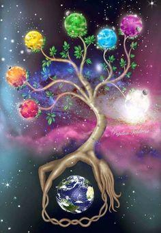 A dream that I had where the tree of life contained seven chakra worlds. Tree of Life Art Chakra, Chakra Healing, Sacral Chakra, Reiki, Les Chakras, Meditation, Illustration, Tree Art, Tree Of Life Artwork