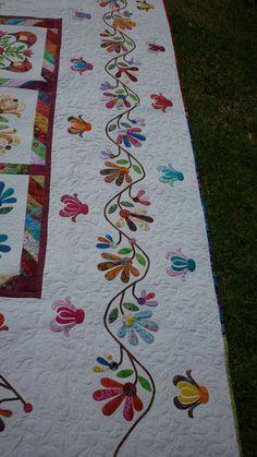 Border detail of my Aunt Millie's Garden Quilt Applique Quilt Patterns, Hand Applique, Flower Applique, Applique Designs, Quilting Designs, Quilt Design, Quilt Binding, Quilt Stitching, Japanese Quilts