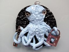 Steampunk Key & Lock Octopus Pendant with Chain by ConstantMindJewelry, $13.99