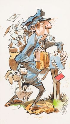 """Letter Carrier,"" an original illustration by Jack Davis, source unknown. Caricatures, Jack Davis, Going Postal, Ligne Claire, Classic Monsters, Monster Party, Tarzan, Comic Artist, Cartoon Art"