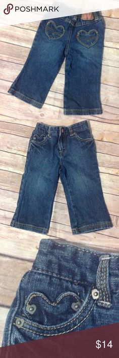 Levi's Heart Pocket Jeans - Size 18 Months Hearts on the back pockets, heart peaking out of one front pocket, partial elastic waist, zip and snap closure. 100% Cotton Levi's Bottoms Jeans