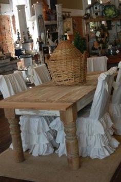 Ruffled slipcovers  Farmhouse table
