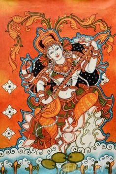Buy Fine art painting Goddess Saraswathi Mural