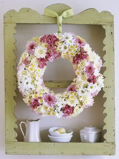 There's a trick to keep the fresh flowers in an Easter wreath properly hydrated: Dip the foam ring in water until it's damp but not dripping, and you'll have perky blooms for days to come.