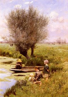 Emile Claus (1849-1924) Afternoon Along The River Oil on canvas
