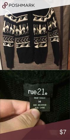 Med Rue21 Aztec Hooded Sweater Black and white cozy button up sweater with a hood. Rue21 Skirts