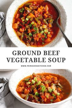 This filling Ground beef vegetable soup is easy to make and perfect for cold winter nights. Make this recipe for a comfort food dinner in just 30 minutes!