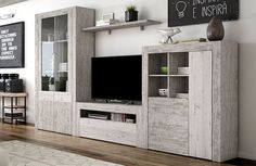 Mueble de salón modular efecto vintage y vitrina Modern Tv Units, Modern Tv Wall, Tv Unit Furniture, Home Furniture, Modern Tv Cabinet, Rack Tv, Muebles Living, Tv Wall Design, Living Spaces