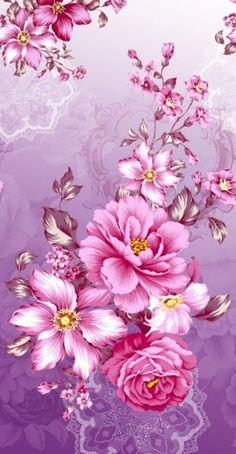 By Artist Unknown. Flowery Wallpaper, Flower Phone Wallpaper, Butterfly Wallpaper, Cute Wallpaper Backgrounds, Pretty Wallpapers, Cellphone Wallpaper, Colorful Wallpaper, Beautiful Roses, Vintage Flowers