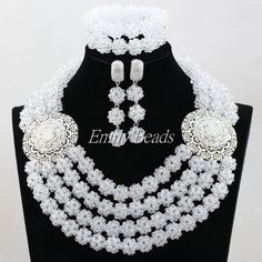 Fashion Women Necklaces White Clear Crystal Costume Jewellry Nigerian Wedding African Beads Jewelry Set Free Shipping ALJ395
