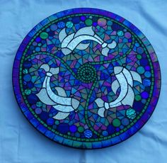 Fish swirl lazy susan by Glenys Fentiman...Note the dichroic glass pieces around the edges of the design