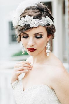 Snippets, Whispers and Ribbons – 20 Elegant Art Deco Bridal Hair and Makeup Ideas