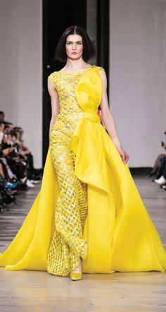 Georges Chakra, Indian Designer Outfits, Designer Dresses, Laura Lee, Runway Fashion, Fashion Outfits, Yellow Fashion, Haute Couture Fashion, Mellow Yellow