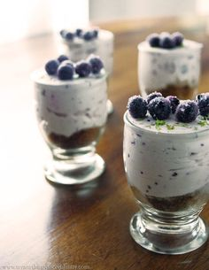 Blueberry Lime Cheesecake Shots ~ The perfect no bake dessert for your holiday table.