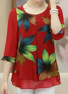 Blouses for women – Lady Dress Designs Beautiful Blouses, Beautiful Outfits, Blouse Patterns, Blouse Designs, Red Blouses, Blouses For Women, Hijab Fashion, Fashion Dresses, Mode Style