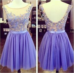 Lavender Jewel Short Sheer Neck Plus Size Prom Dresses Applique Sleeveless Backless Girl's Party Dress Homecoming Dress Custom Made