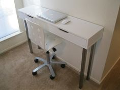 Ekby Alex shelves from Ikea turned into table. If only Ikea would get them in stock. Ikea Console Table, Narrow Console Table, Ikea Desk, Ikea Hacks, Ikea Hack Sofa, Desk Dresser Combo, Small Writing Desk, Guest Rooms, Master Bedrooms