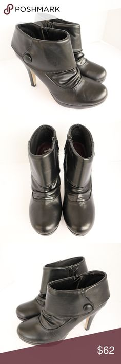 """NWOB MADDEN GIRL BLACK ANKLE BOOTIES 8.5 MADDEN GIRL BLACK ANKLE BOOTIES   SIZE 8.5  NEW WITHOUT BOX. Marked as NWT even though they don't have tags on them because they are new.  Faux leather upper Inside zip closure 4.5"""" inches heel All Man-made materials   New. Excellent condition. Marked on soles. Little white mark on insole is from the original tag. Madden Girl Shoes Ankle Boots & Booties"""